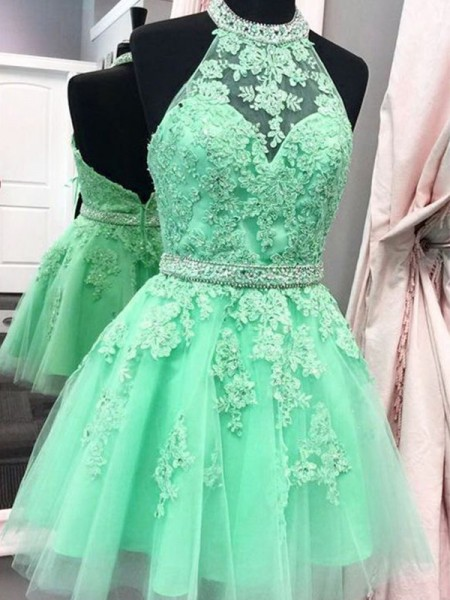A-Line/Princess Sleeveless Halter Tulle Applique Short/Mini Dresses