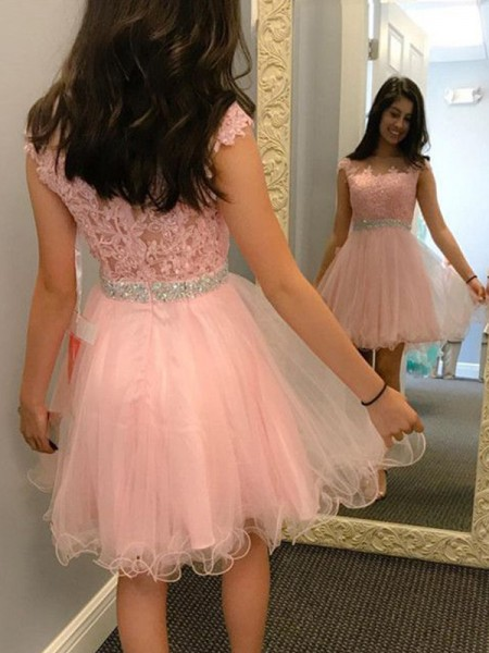 A-Line/Princess Sleeveless Bateau Tulle Beading Applique Short/Mini Dresses