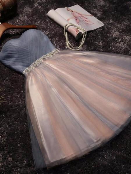 A-Line/Princess Sleeveless Sweetheart Tulle Beading Short/Mini Dresses