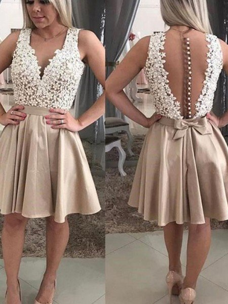 A-Line/Princess Sleeveless Beading V-neck Satin Short/Mini Dresses
