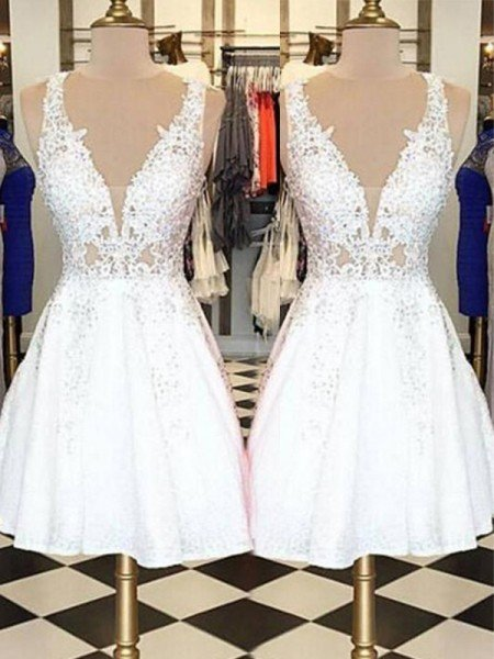 A-Line/Princess Sleeveless Bateau Lace Applique Short/Mini Dresses