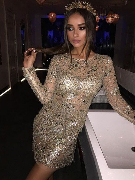 Sheath/Column Long Sleeves Scoop Sequin Beading Short/Mini Dresses