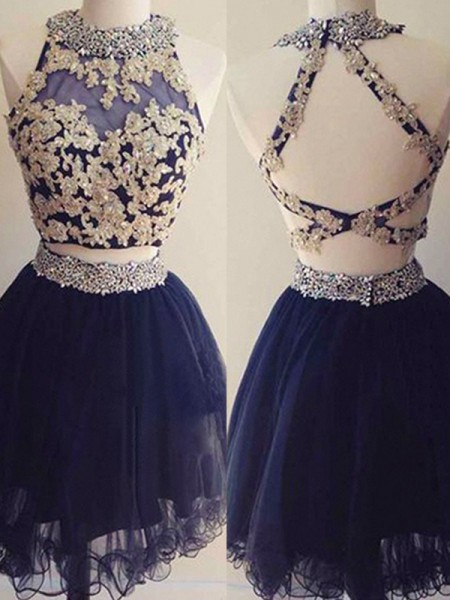 A-Line/Princess Sleeveless Halter Tulle Beading Short/Mini Two Piece Dresses