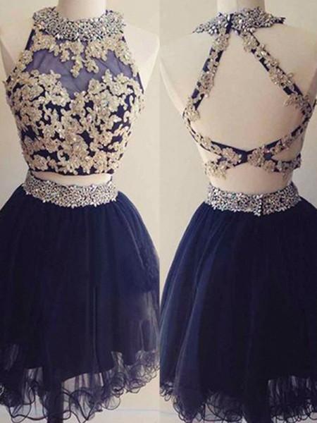 A-Line/Princess Sleeveless Halter Tulle Beading Short/Mini Two Piece Dresses
