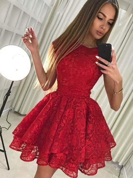 A-Line/Princess Sleeveless Scoop Lace Short/Mini Dresses