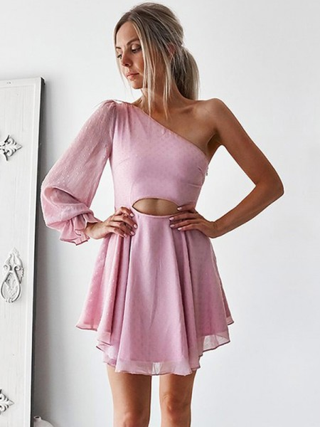 A-Line/Princess Chiffon One-Shoulder Long Sleeves Ruffles Short/Mini Dresses