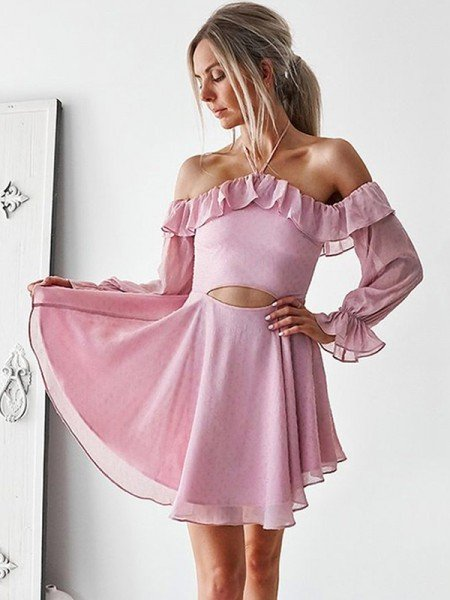 A-Line/Princess Ruffles Off-the-Shoulder Chiffon Long Sleeves Short/Mini Dresses