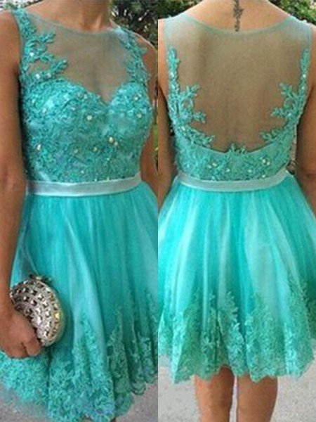 A-Line/Princess Applique Scoop Tulle Sleeveless Short/Mini Dresses