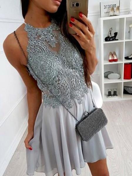 A-Line/Princess Chiffon Halter Applique Sleeveless Short/Mini Dresses