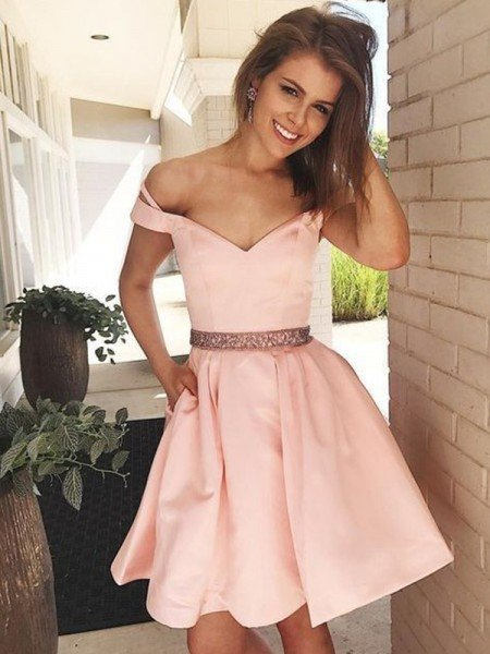 A-Line/Princess Sleeveless Off-the-Shoulder Satin Beading Short/Mini Dresses
