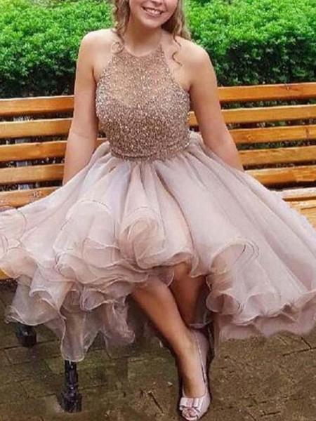 A-Line/Princess Sleeveless Halter Tulle Beading Short/Mini Dresses