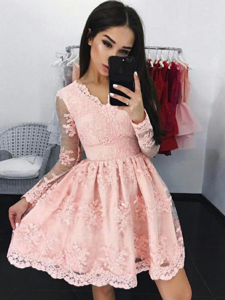 A-Line/Princess Lace Long Sleeves Applique V-neck Short/Mini Dresses
