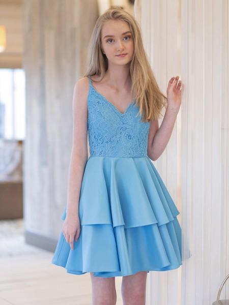 A-Line/Princess Straps Sleeveless Satin Ruffles Short/Mini Dresses