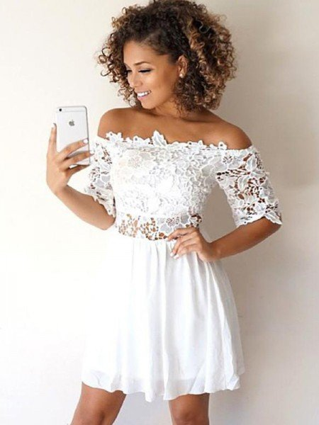 A-Line/Princess Chiffon Applique Off-the-Shoulder 1/2 Sleeves Short/Mini Dresses