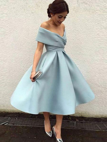 A-Line/Princess Sleeveless Off-the-Shoulder Satin Ruffles Tea-Length Dresses