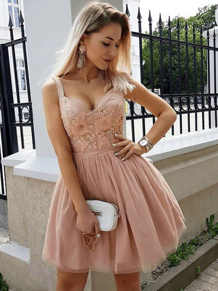 A-Line/Princess Sleeveless Straps Tulle Beading Short/Mini Dresses