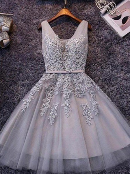 A-Line/Princess Sleeveless Straps Tulle Applique Short/Mini Dresses