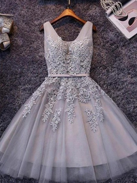A-Line/Princess Sleeveless Straps Tulle Applique Short/Mini Dresses