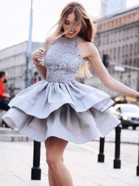 A-Line/Princess Satin Sleeveless Ruffles Halter Short/Mini Dresses