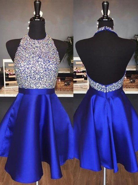 A-Line Halter Cut Short With Beading Satin Royal Blue Homecoming Dresses