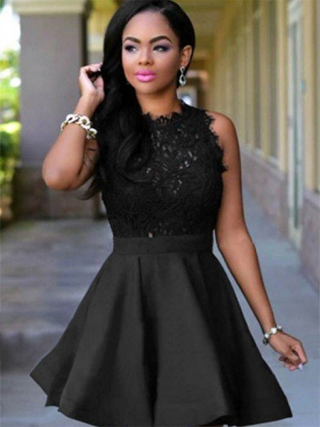A-Line Jewel Cut Short With Lace Satin Black Homecoming Dresses