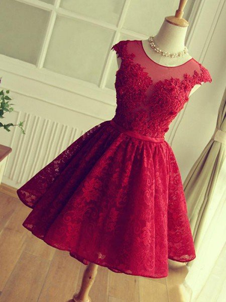 A-Line Jewel Cut Short With Applique Lace Red Homecoming Dresses