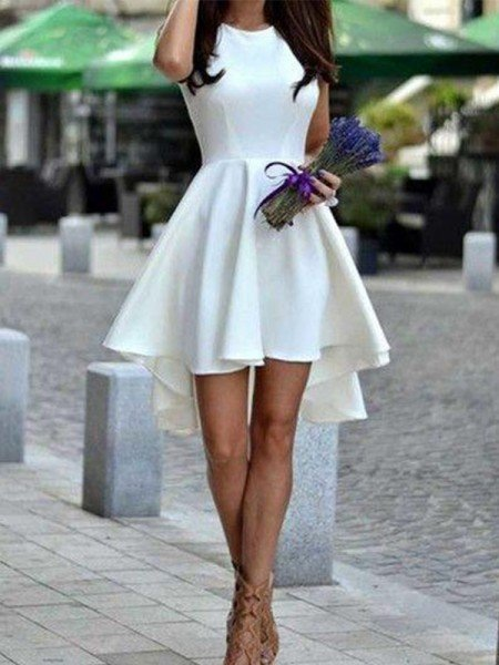 A-Line Jewel Cut Short With Ruffles Satin White Homecoming Dresses