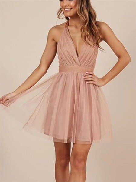 A-Line/Princess Sleeveless Halter Tulle Ruffles Short/Mini Dresses