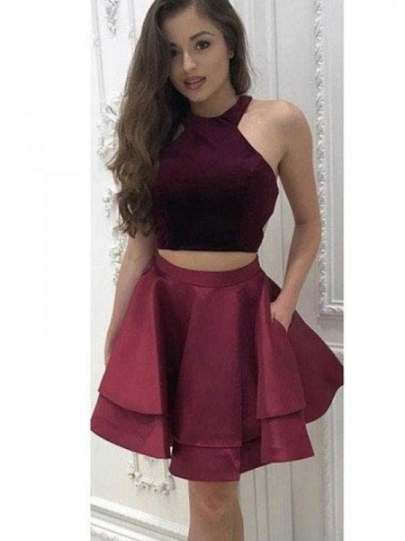 A-Line/Princess Sleeveless Halter Satin Ruffles Two Piece Short/Mini Dresses