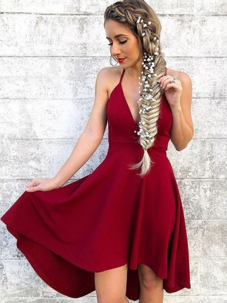A-Line/Princess Sleeveless Halter Spandex Ruffles Knee-Length Dresses