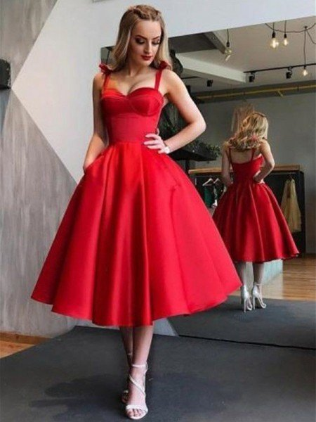 A-Line Princess Straps Satin Sleeveless Ruffles Tea-Length Dresses f0e9adb58