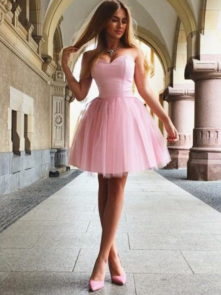 A-Line/Princess Sweetheart Ruffles Sleeveless Satin Short/Mini Dresses