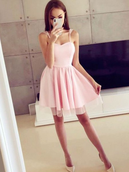 A-Line/Princess Satin Spaghetti Straps Ruched Sleeveless Short/Mini Dresses