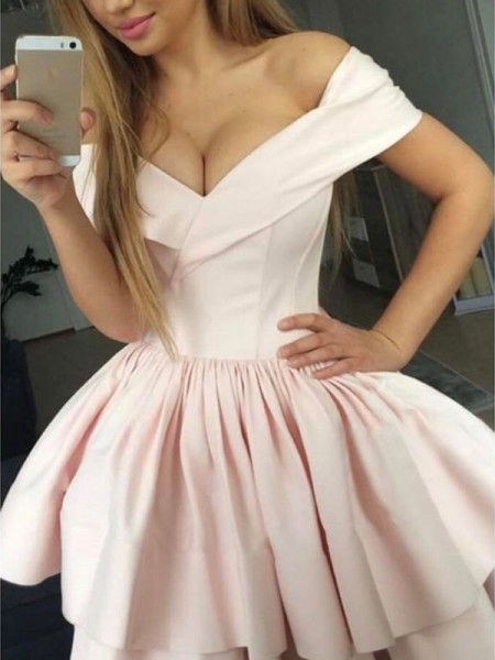 A-Line/Princess Satin Sleeveless Ruched Off-the-Shoulder Short/Mini Dresses