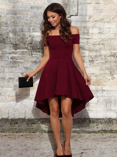 A-Line/Princess Elastic Woven Satin Ruffles Off-the-Shoulder Sleeveless Short/Mini Dresses