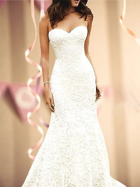 Trumpet/Mermaid Sleeveless Sweetheart Sweep/Brush Train lace Wedding Dresses