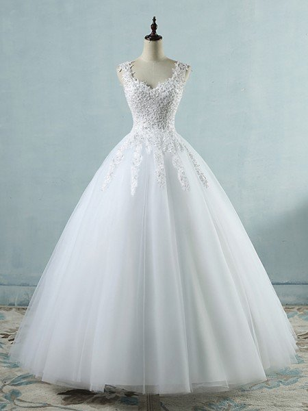 Ball Gown V-neck Sleeveless Sweetheart Floor-Length Applique Tulle Wedding Dresses