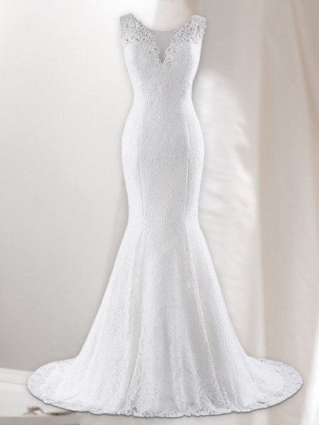 Trumpet/Mermaid V-neck Sleeveless Lace Sweep/Brush Train Wedding Dresses