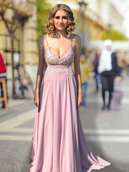 Empire Spaghetti Straps V-neck Lace Sweep/Brush Train Chiffon Dresses