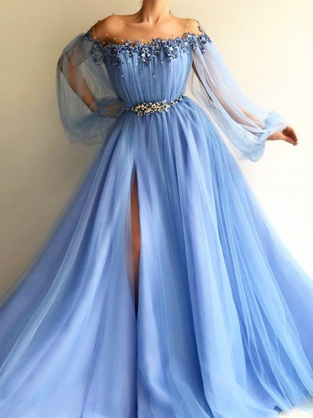 8efcf62034a A-Line Princess Long Sleeves Off-the-Shoulder Tulle Beading Floor-