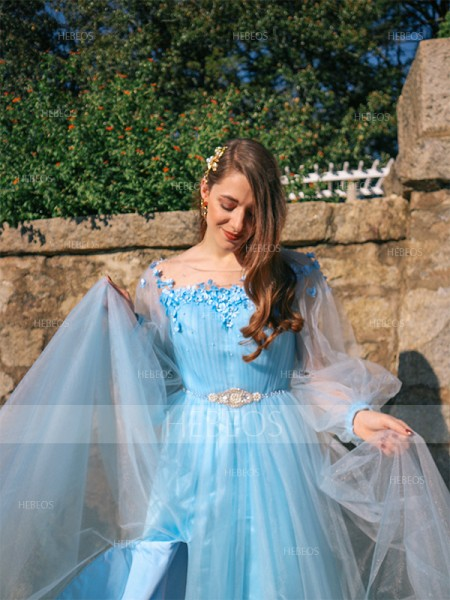 A-Line/Princess Tulle Beading Off-the-Shoulder Long Sleeves Floor-Length Dresses