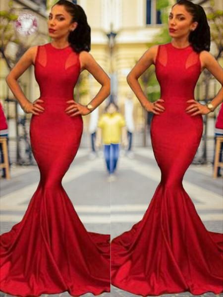 Trumpet/Mermaid Sleeveless Jewel Court Train Elastic Woven Satin Dresses
