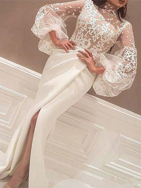Trumpet/Mermaid Long Sleeves High Neck Floor-Length Lace Satin Dresses
