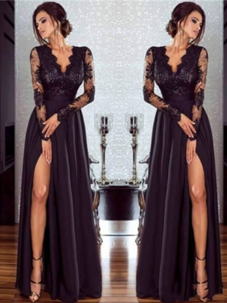 A-Line/Princess Long Sleeves V-neck Floor-Length Lace Chiffon Applique Dresses