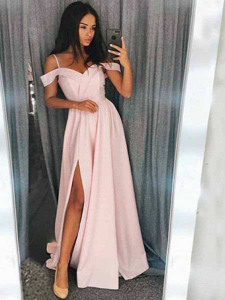 A-Line/Princess Sleeveless Off-the-Shoulder Sweep/Brush Train Ruffles Elastic Woven Satin Dresses