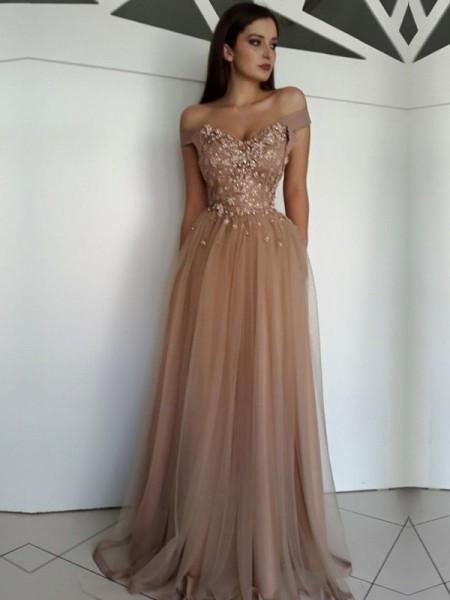 A-Line/Princess Sleeveless Off-the-Shoulder Floor-Length Applique Tulle Dresses