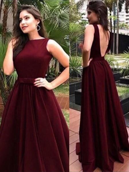 A-Line/Princess Sleeveless Bateau Floor-Length Sash/Ribbon/Belt Dresses
