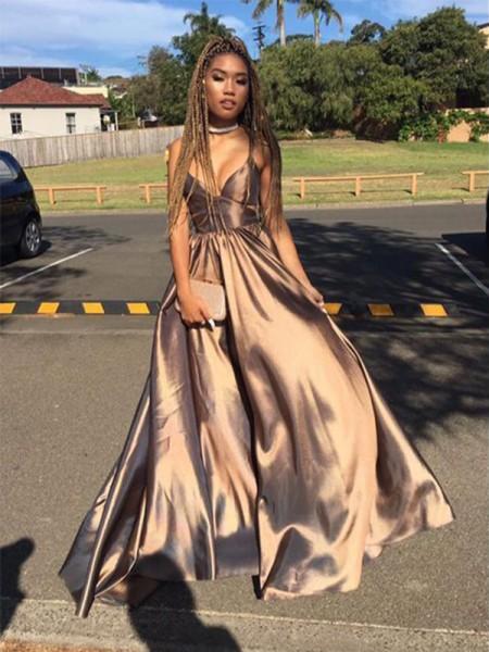 A-Line/Princess Sleeveless V-neck Floor-Length Ruffles Satin Dresses