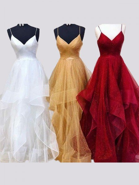 A-Line/Princess Sleeveless Spaghetti Straps Floor-Length Tulle Ruffles Dresses