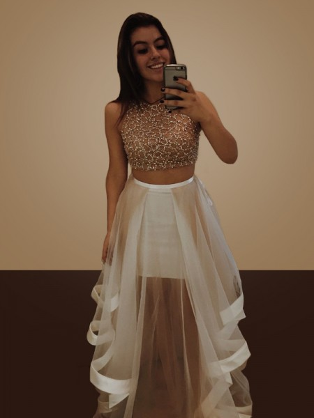 A-Line/Princess Sleeveless Halter Floor-Length Beading Organza Two Piece Dresses
